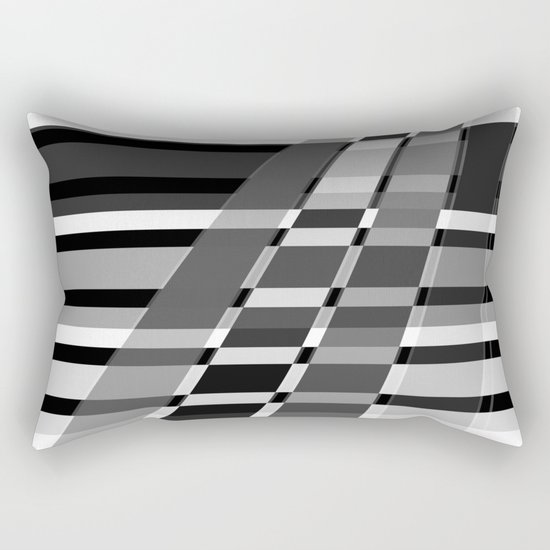 Black and white abstract pattern . The slant line 1. Rectangular Pillow