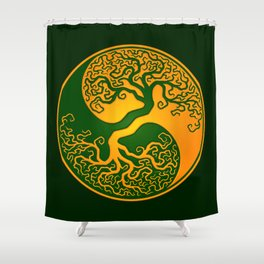 Green and Yellow Tree of Life Yin Yang Shower Curtain