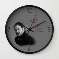 crowley Wall Clocks featuring Supernatural - Crowley The King of Hell ! by firatbilal