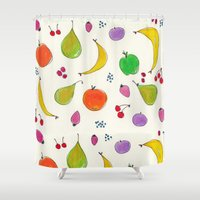 fruits Shower Curtains featuring Fruits! by Niche Drawings