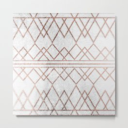 Chic & Elegant Faux Rose Gold Geometric Triangles Metal Print