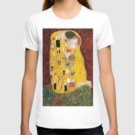 Gustav Klimt - The Kiss gold leaf, silver, and platinum, The Lovers golden period still life T-shirt