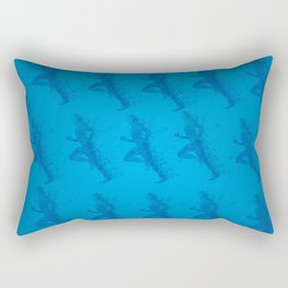 Watercolor running man silhouette background in blue color pattern Rectangular Pillow