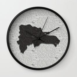 Dominican Republic Map with Provinces Wall Clock