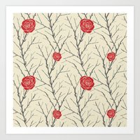 Branch & Roses Art Print