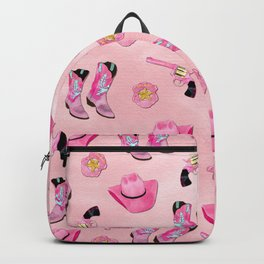 Artsy Cute Girly Pink Teal Cowgirl Watercolor Backpack