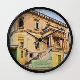 Cuba Funky House Havana Architecture Old Building Cuban Island Urban City Spain Colorful Wall Clock