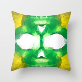 psychedelic skull art geometric triangle abstract pattern in green yellow Throw Pillow