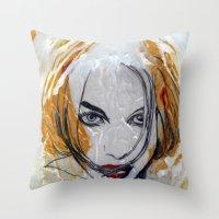 blondie Throw Pillows featuring Blondie by Capracotta Art