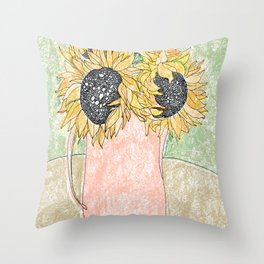 Fall Sunflower Bouquet in Pitcher Offset Throw Pillow