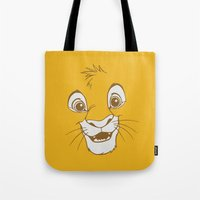simba Tote Bags featuring Simba  by Luxatr
