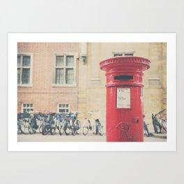 Red letter box in Cambridge, England print Art Print