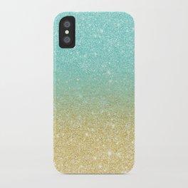Modern robbin egg blue glitter ombre gold glitter iPhone Case