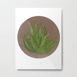 Embroidered aloe vera Metal Print
