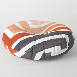 Burnt Sienna Mid Century Modern Watercolor Colorful Ancient Aztec Art Pattern Minimalist Geometric P Floor Pillow
