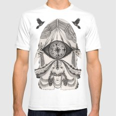 Thoughts Compass MEDIUM White Mens Fitted Tee