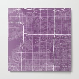 Tempe Map, USA - Purple Metal Print