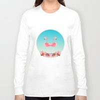 flamingos Long Sleeve T-shirts featuring Flamingos by Juliana Zimmermann