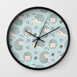 So Many Happy Little Hedgehogs To Hug Pattern Wall Clock