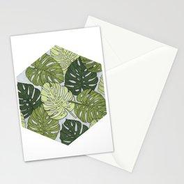 Monstera Hexagon Pattern Stationery Cards