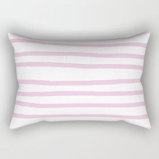 Simply Drawn Stripes in Blush Pink on White Rectangular Pillow