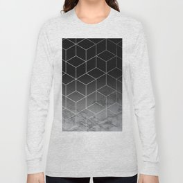 Silver Geometric Cubes Trendy White Grey Marble Long Sleeve T-shirt