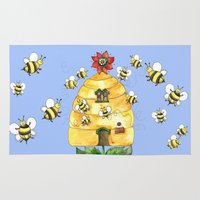 bees Area & Throw Rugs featuring Busy Bees by Shelley Ylst Art