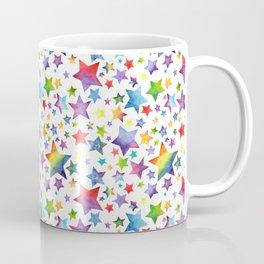 Rainbow Star Pattern on White Coffee Mug