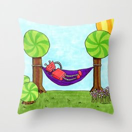 Robot Napping in a Hammock Throw Pillow
