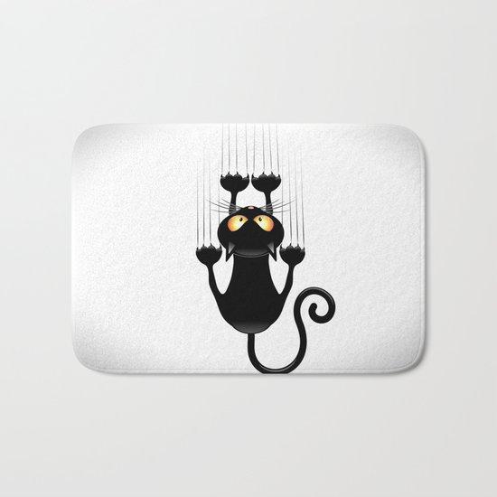 Black Cat Cartoon Scratching Wall Bath Mat