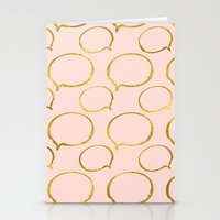 gold foil Stationery Cards featuring Pink Gold Foil 01 by Aloke Design