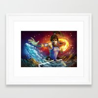 the legend of korra Framed Art Prints featuring Korra by Nikittysan