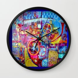 Blue Steam Punk  Music Key Board & Clock Works Abstract Wall Clock
