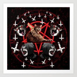 satanic cat pentagram death black metal band exorcist Art Print