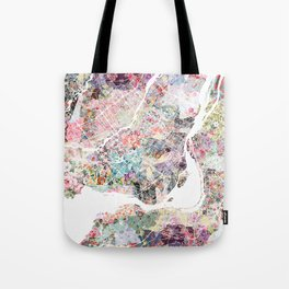 Montreal map - Landscape orientation Tote Bag