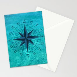 Compass on Turquoise Water Stationery Cards