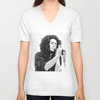 marley V-neck T-shirts featuring Marley Music by Mark Lucas
