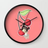 cherry Wall Clocks featuring Cherry by Freeminds