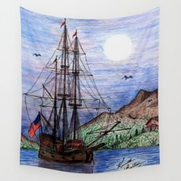 Tall Ship in the Moonlight Wall Tapestry