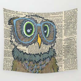 Owl wearing glasses Wall Tapestry