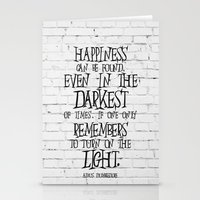 dumbledore Stationery Cards featuring Albus Dumbledore Quote Inspirational by Go Art