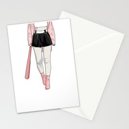 girl with bat Stationery Cards