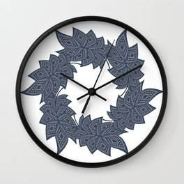Circle of leaves denim photocollage Wall Clock