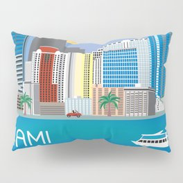 Miami, Florida - Skyline Illustration by Loose Petals Pillow Sham