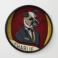 charlie Wall Clocks featuring Charlie by Kyle Hurley