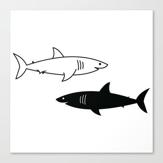 B/W Shark Canvas Print