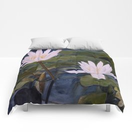 Watercolor Flower Water Lily Landscape Nature Comforters
