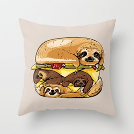Sloths Burger Throw Pillow