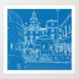 London Horse guards & Bus Art Print