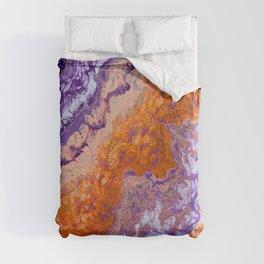 Clemson Orange and Purple Paint Pour Effect Duvet Cover
